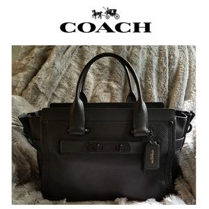 Coach Swagger 27 Navy Leather Bag.